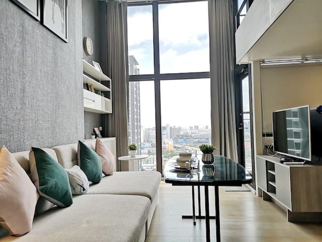 Luxury Cozy Loft @ MRT RAMA9,Asoke,Airport Link