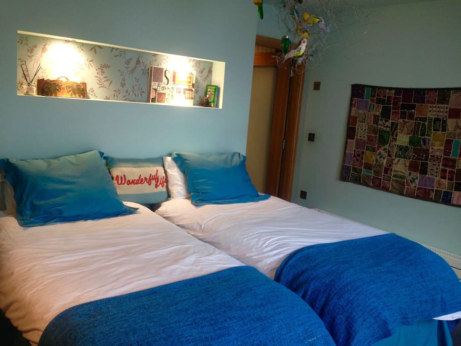 Spacious stylish Twin Bedded room with Wifi and TV