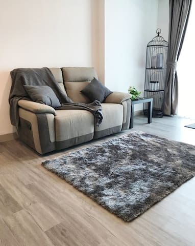Reclining sofa in living room