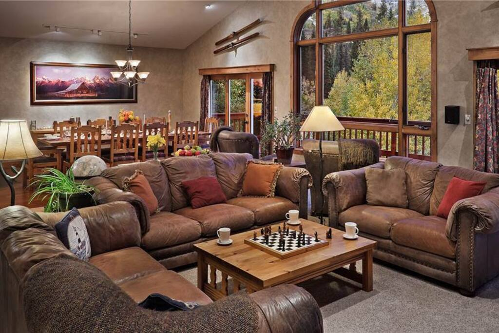 Large Living Room with Fireplace and Great Views