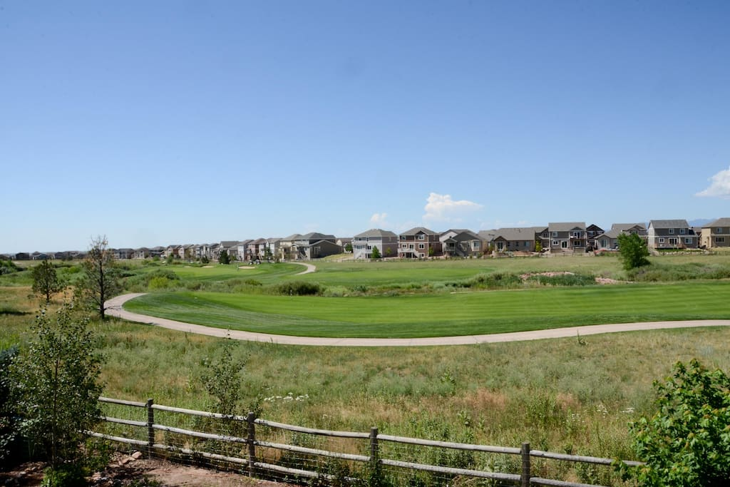 View of golf course from the deck.