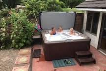The hot tub goes year round.