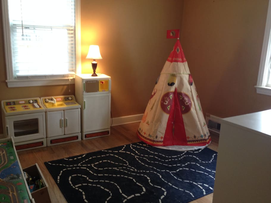 Currently a playroom, with space to add a queen bed as needed