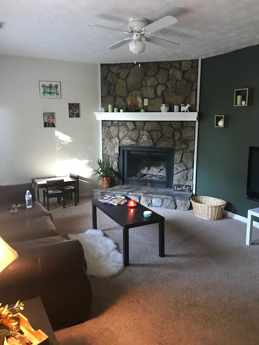 Cozy living room with wood burning fireplace:)