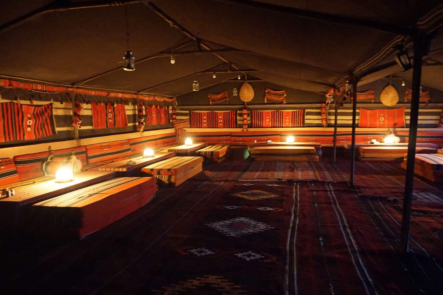 The communal tent where we socialize, serve meals, and drink Bedouin tea around the fire.