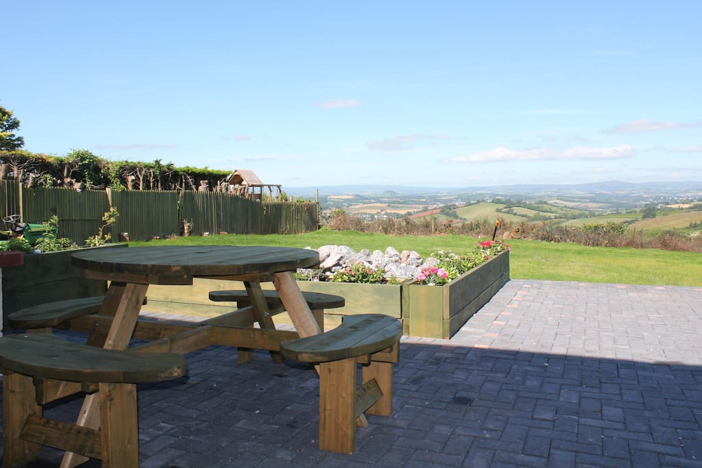 Seating area by BBQ