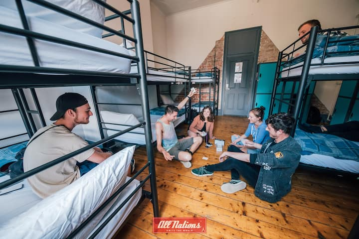 8 share dorm at the world famous All Nations Hostel.