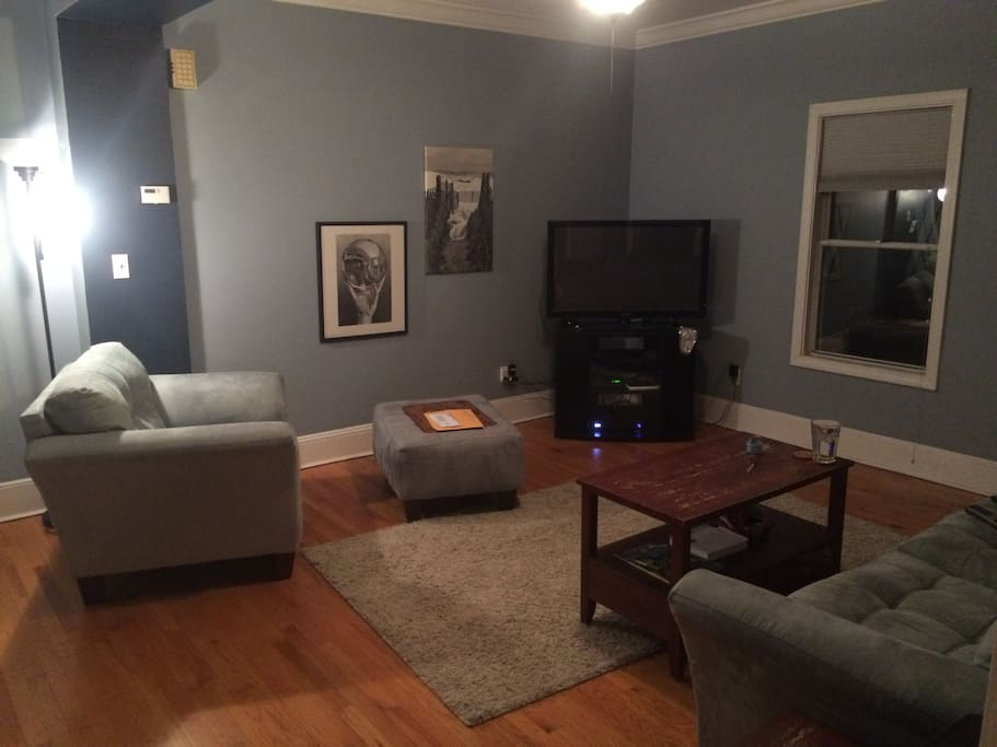 The living room, with TV and DVD player