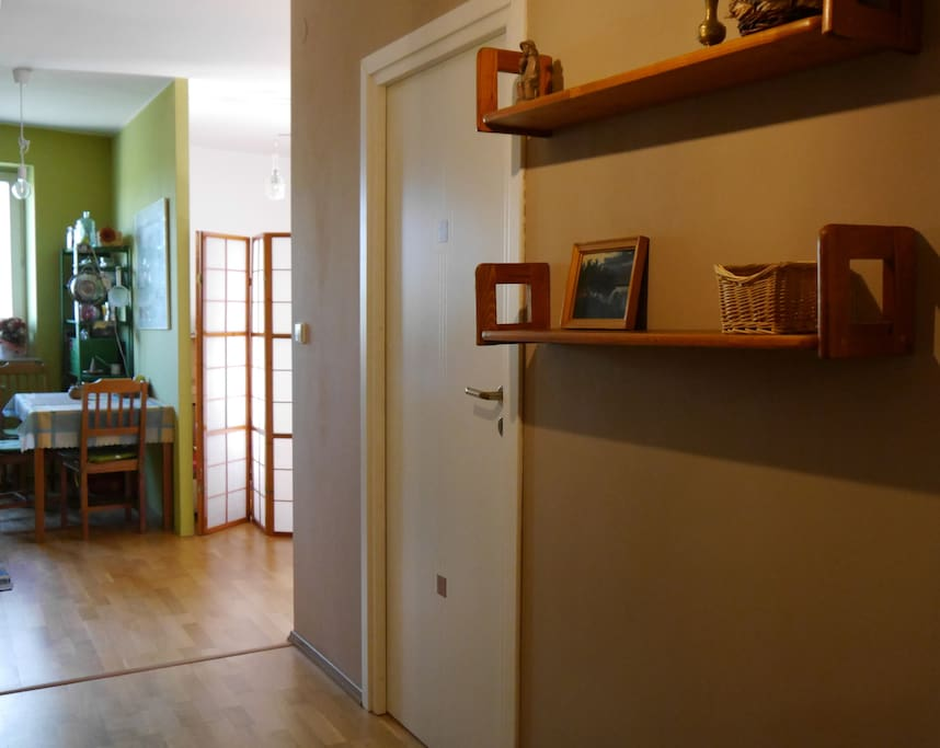 hall and the kitchen