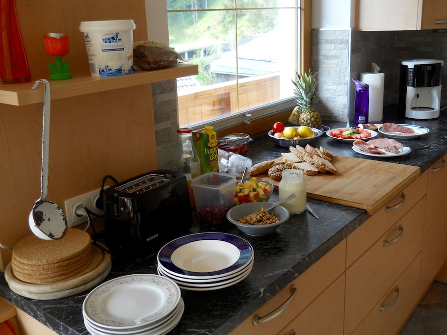 Breakfast is the most important meal of the day in our kitchen. A huge fresh fruit bowl, natural yogurt, homemade granola or muesli, bread from the bakery up the mountain are always available.