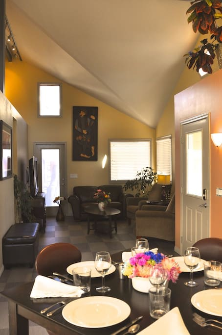 There are vaulted ceilings throughout.