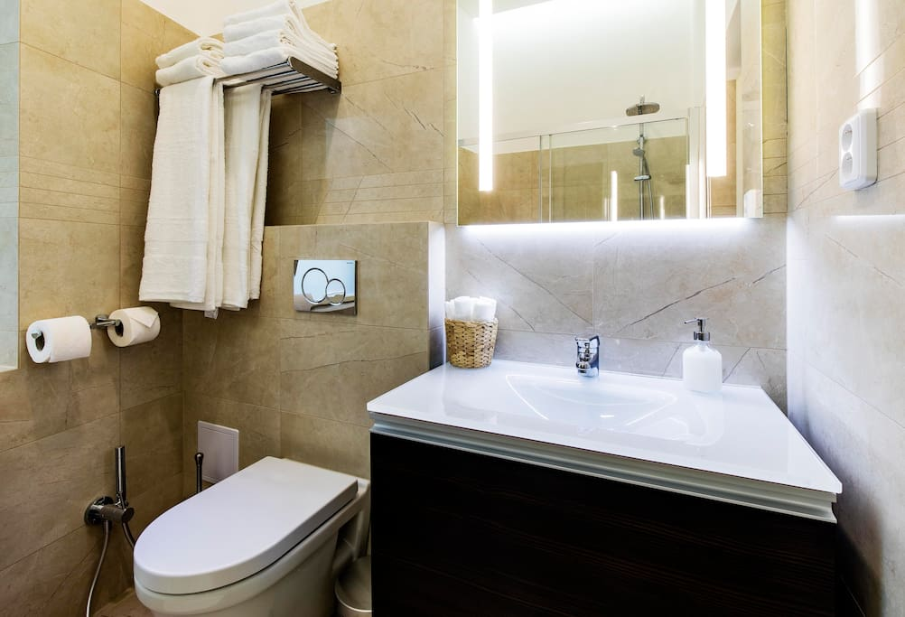 fully equipped bathroom with shower, shampoos, soaps, shower gels, and towels