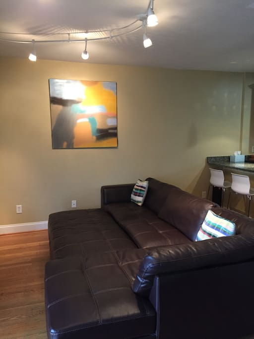 Leather couch to lounge
