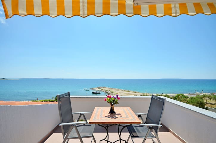 Two Bedroom Apartment, beachfront in Novalja - island Pag, Outdoor pool, Terrace