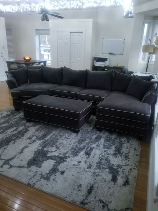 Very large Couch with cuddler, Chase, loveseat and ottoman on a designer rug.