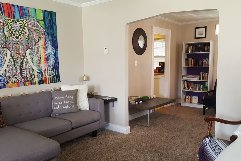 Enter into living room replete with TV, DVDs, boardgames, hand weights, and resistance bands--all available to make your stay enjoyable and memorable! Couch can sleep one guest.
