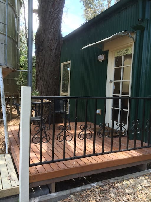 Deck and entry to Round Yard Apartment