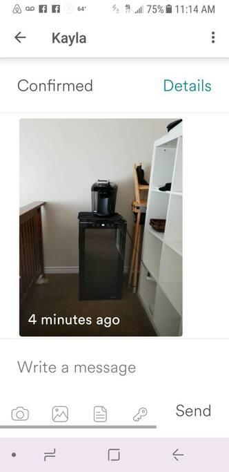 beverage refrigerator.kerig coffee maker