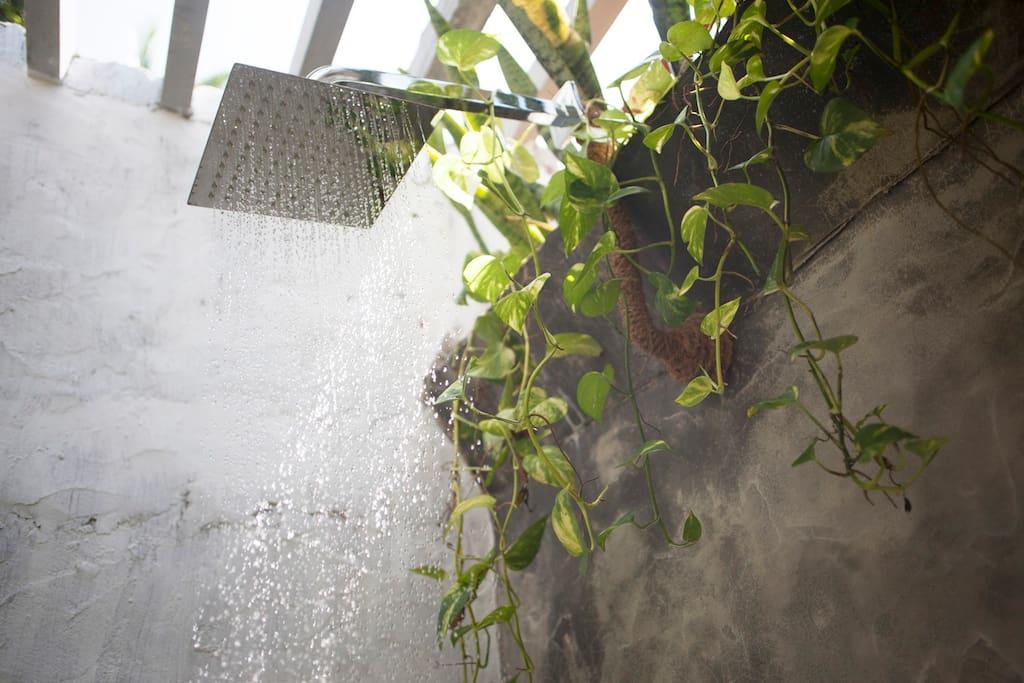 Solar hot water shower.