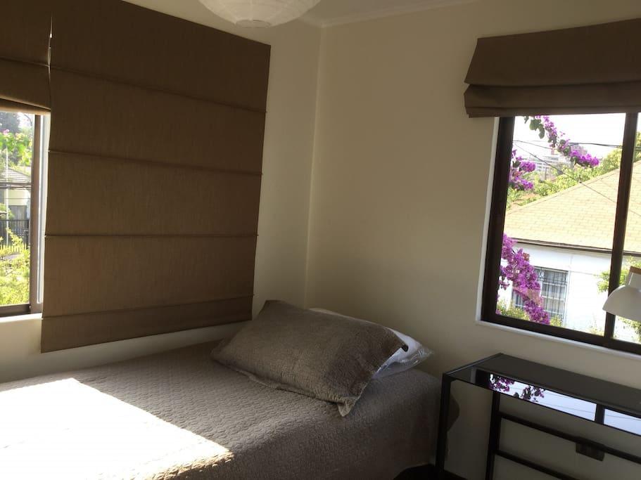 La habitación tiene dos ventanas grandes por las que se asoma una gran bugambilia florida en esta época del año