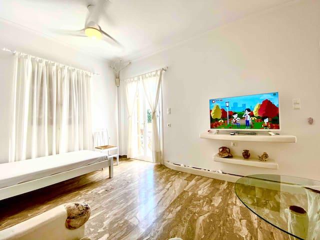 Single mattress ,42 inches satellite smart tv.