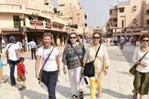international guest walking on heritage street