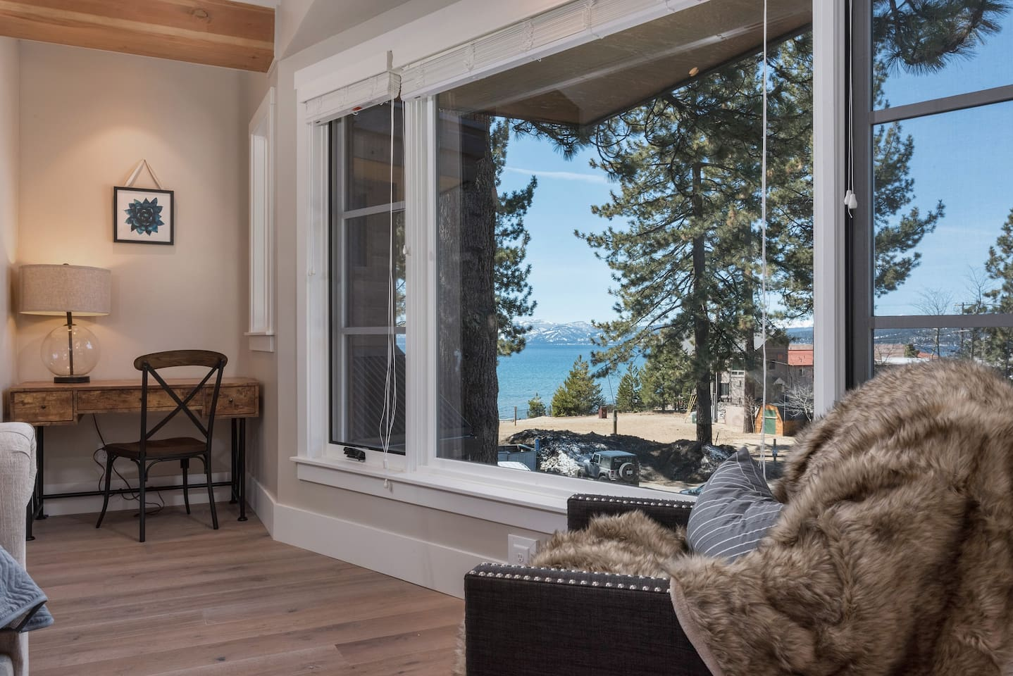 Soak up North Lake Tahoe's natural beauty from the master bedroom's large window.