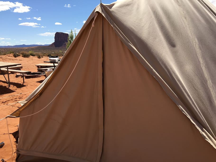 This sibley bell tipi tent we put 2-4 people into depending on the availability.  It has a full sized bed for two people and a single sized bed with linens, blankets and comforters. We have additional sleeping bags for guests who need them. These tents have a solar light.