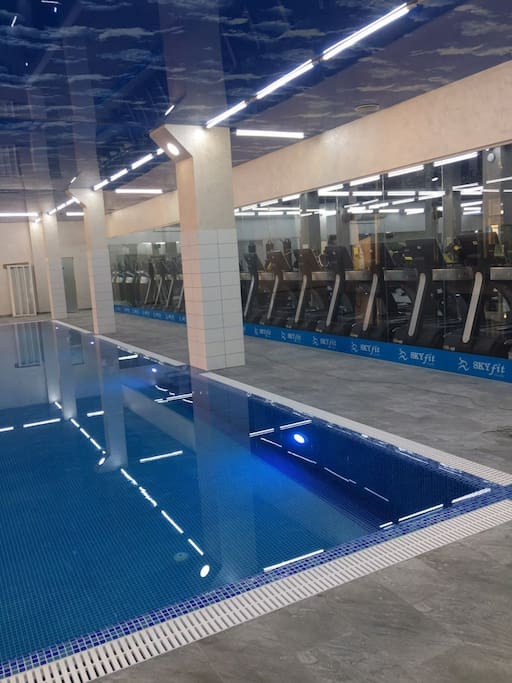 Gymnasium and Swiming pool are available on a 2nd floor of Appartment Building.Single visit ticket  to be paid