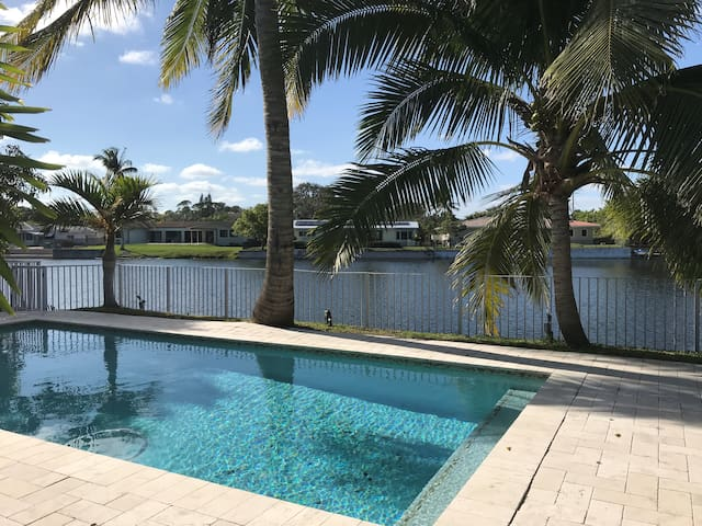 South Miami pool home with water view