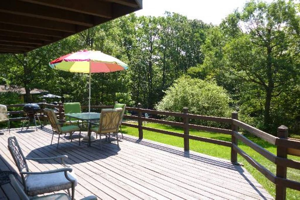 relax while grilling on the large deck out front