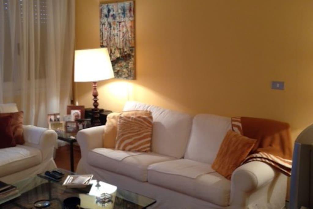 Salone con divano letto matrimoniale