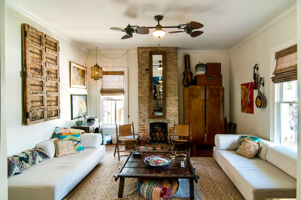 The Historic East Nashville House - living room w/ 2 sofa beds and a fire pit