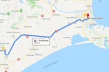 Driving time from Christchurch to Peel Forest is 1 hour 45 minutes.