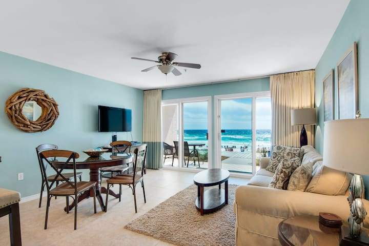 Gulf front Condo w/ Patio w/ Outdoor Shower! Beach Equipment Included