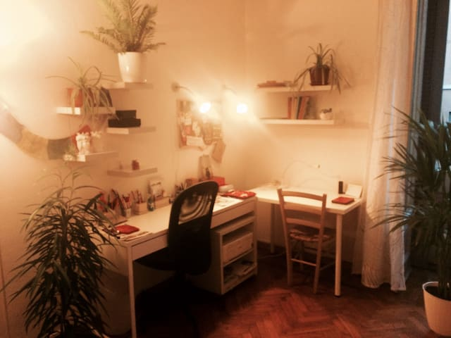 Hall/living room with work & study corner