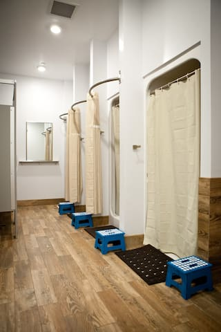Each floor has a men and women's community bath/shower as well as private toilets/showers