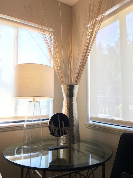 Window blinds to filter out the light and provide privacy.