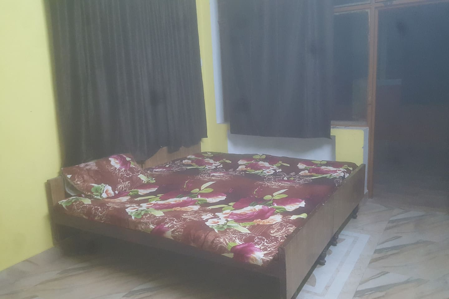 A big room with double bed with attached bathroom and balcony 4 person can stay on demand we can arrange mattress with extra charge.