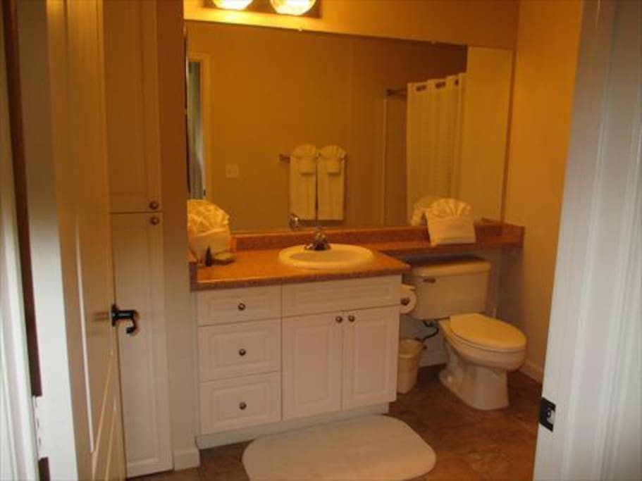 The en-suite bathroom offers a full shower/tub.