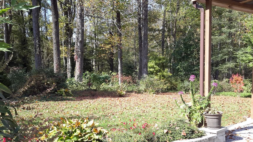 Large private backyard buffered by the woods.