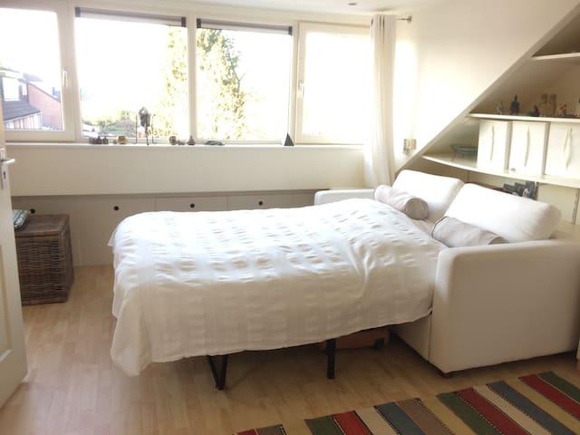 2 persoons-slaapbank van 140 breed op ruime zolderkamer met airco/verwarming