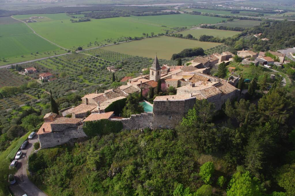 Aerial view of Montfort medieval village
