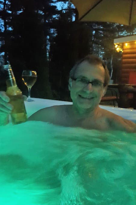 Enjoying the hot tub on a cool evening!