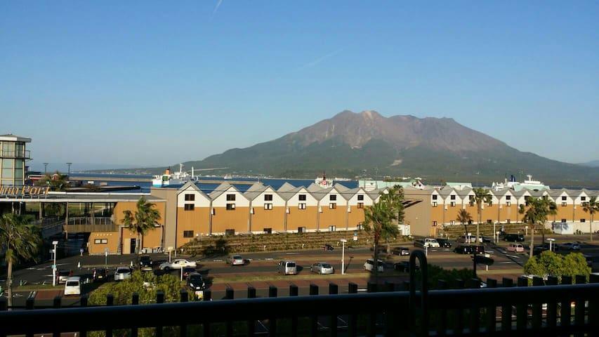502ベランダから桜島の絶景が見えるゲストアパートメント