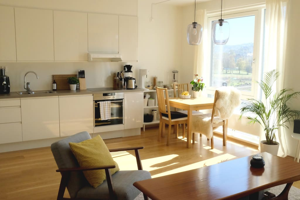 Kitchen/living room. Sit by the large window and enjoy a cup of coffee.