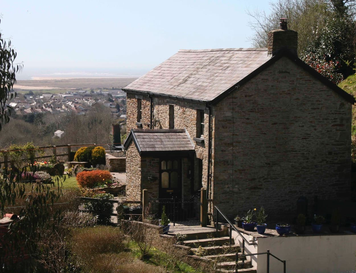 The cottage overlooks Pembrey Harbour - its a 5 minute drive or 15 minute walk down to the town of Burry Port