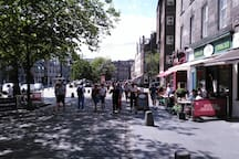 The many cafes bars and restaurants in the Grassmarket