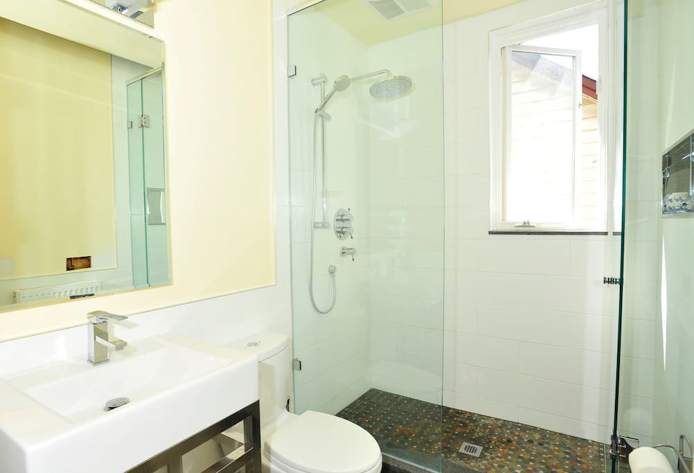 The new bathroom with a walk in shower stall and a rain shower head.