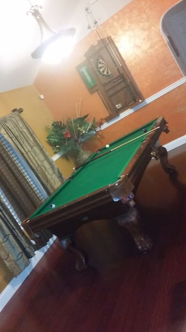 Entertainment room pool table and dirt board